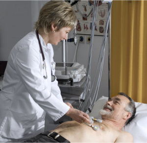 doctor checking senior patient