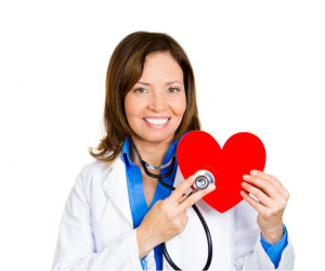 doctor holding a heart shape
